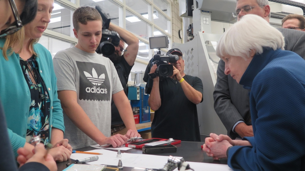 """Federal Reserve Chair Janet Yellen, right, meets students enrolled in """"Right Skills Now,"""" a program at Tri-C aimed at preparing students for jobs in computer-controlled manufacturing."""