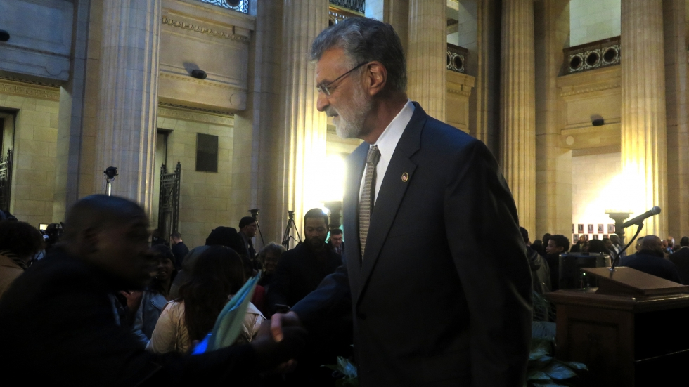 Mayor Frank Jackson (right) after being sworn in for his fourth term at City Hall on Tuesday. [Adrian Ma / ideastream]