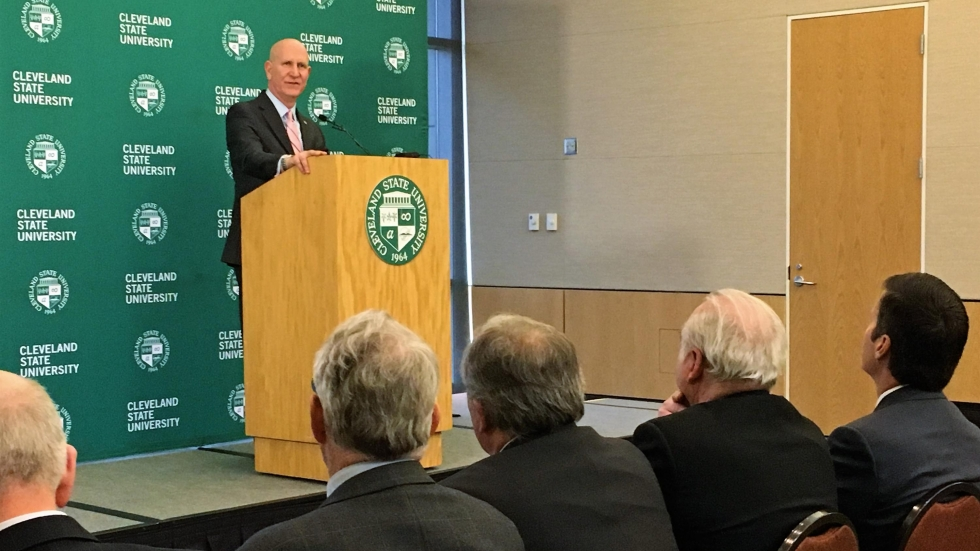 Harlan Sands was named Cleveland State University's newest president Monday. (Ashton Marra/ideastream)