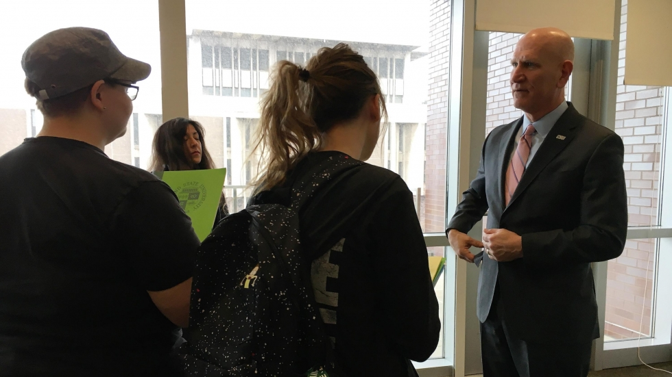 Sands speaks with CSU students after a press conference announcing his hiring. (Ashton Marra/ideastream)