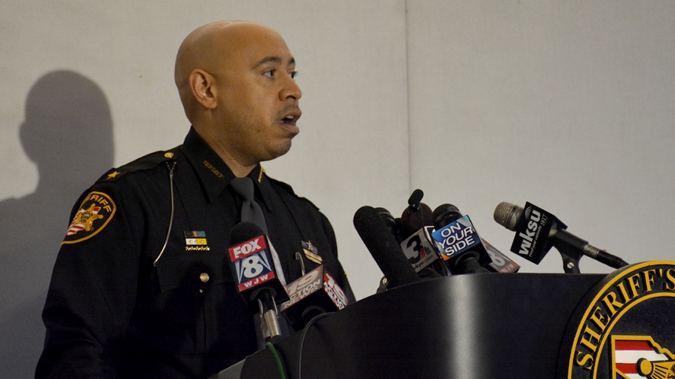 Cuyahoga County Sheriff Clifford Pinkney at a press conference in 2015