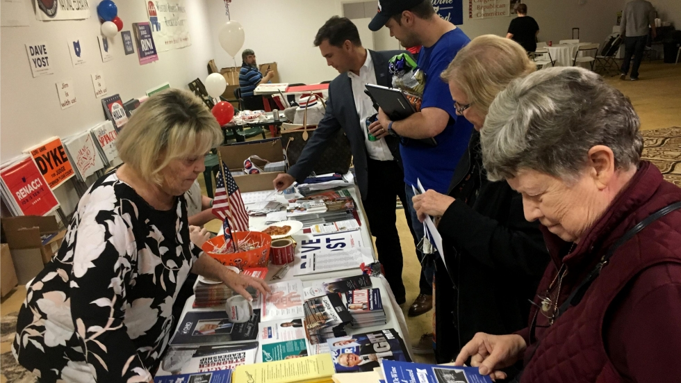 Republican voters collect campaign literature at a meeting in Lyndhurst.