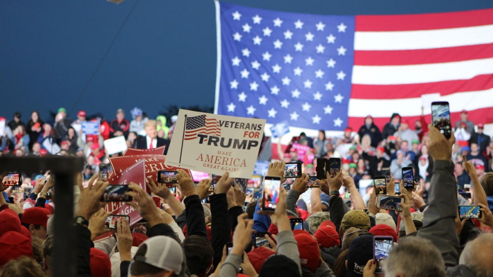 Attendees at a Trump rally in Lebanon, Ohio