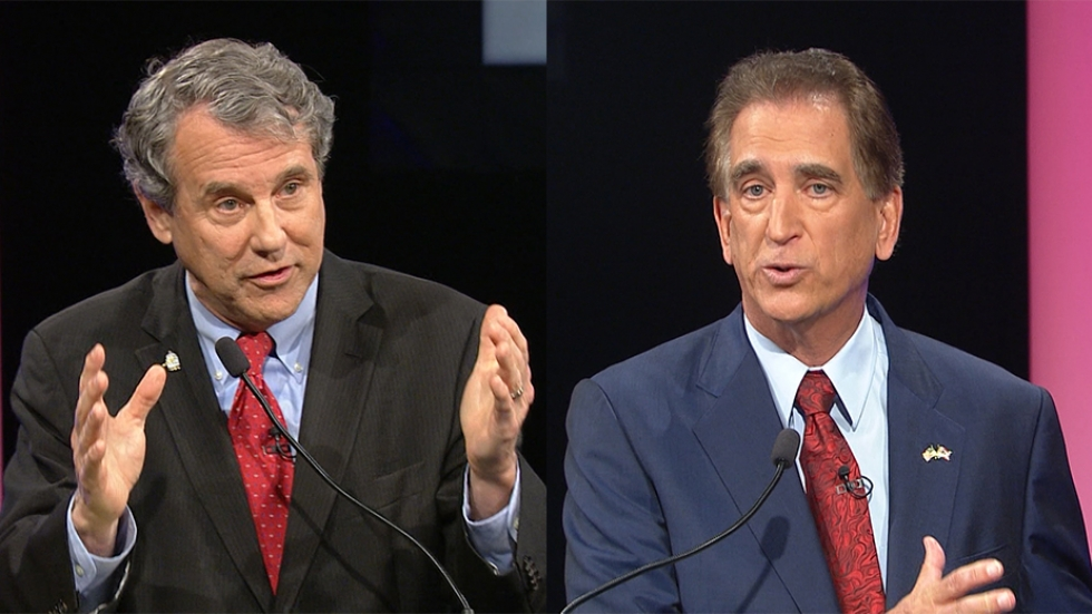 Sen. Sherrod Brown, D-Ohio, and Rep. Jim Renacci, R-Ohio, respond to questions during the first debate in the US Senate race in 2018.