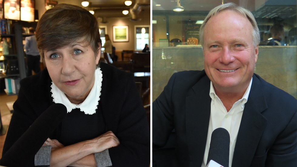 head shot of Democrat Betsy Rader and Republican Dave Joyce [Mark Uryck / ideastream]
