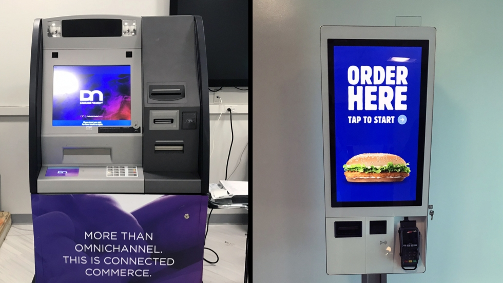 A blue, purple, and grey ATM machine on the left, and a touch screen kiosk with a picture of a fish sandwich on the right.