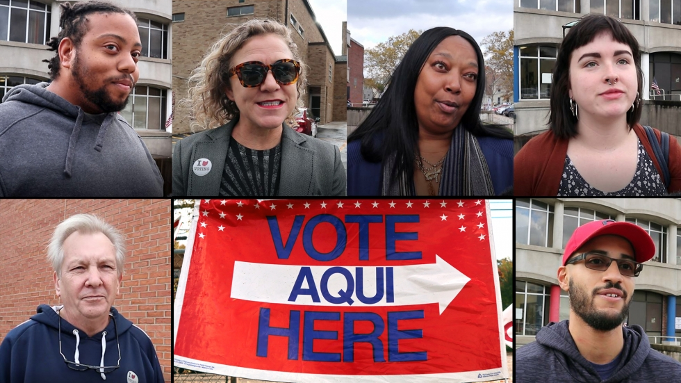 Clockwise from top left: Carliastro Jones, Claire Campbell, Annette Ruffin, Kayleigh Berendt, Josh Clark, and Terry Mulica. All of them were among the over 477,000 voters who pushed turnout over 53 percent as of the close of the polls on Tuesday. [Adrian Ma / ideastream]