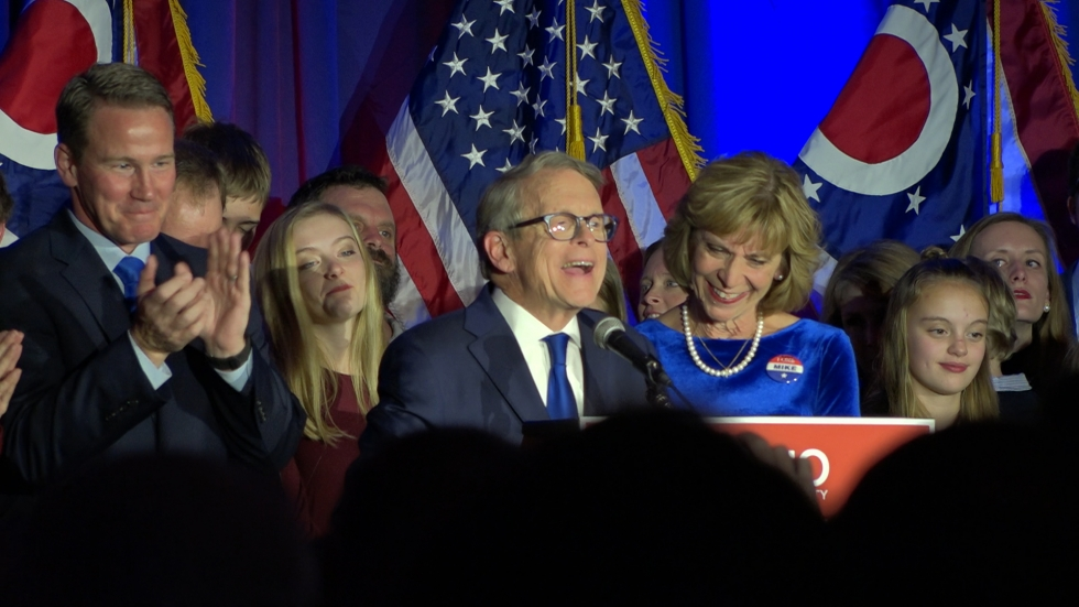 Ohio Governor-elect Mike DeWine celebrates his victory Tuesday night.