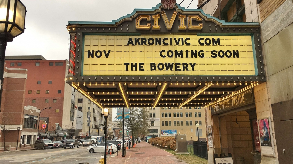 "The Akron Civic Theater marquee advertises the Bowery ""coming soon"""