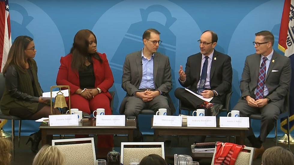 """A panel of elected officials from New York and Cleveland discuss """"right to counsel"""" in housing courts."""