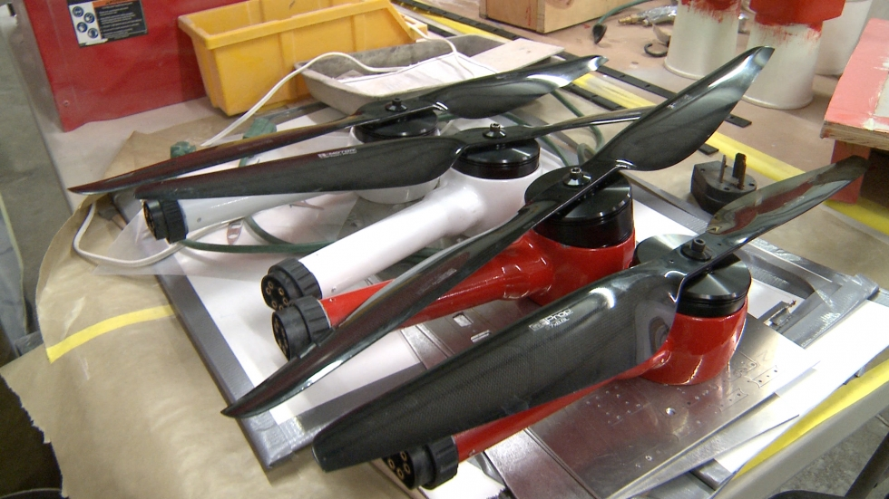 Propellers for a drone that can take off and land vertically. (Ashton Marra/ideastream)