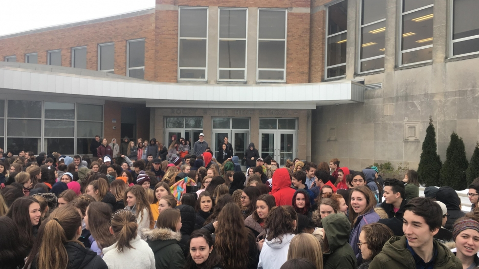 Rocky River High School students gathered in front of the school for a vigil Wednesday. (Ariel Russell/Rocky River High School)