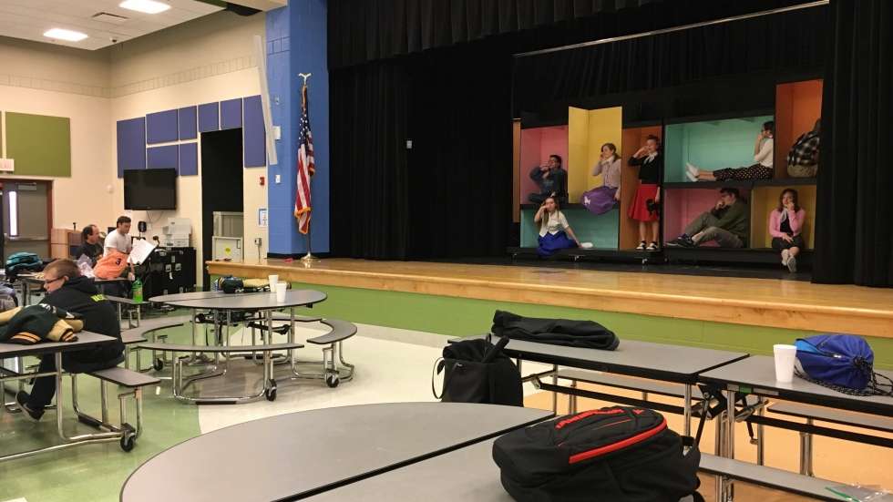 Cloverleaf High School students used the stage in the elementary school cafeteria for their production. (Ashton Marra/ideastream)