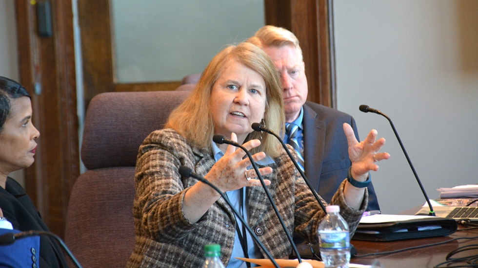 Rosemary Creeden, the associate director for trauma services at Frontline, testified before Cleveland city council on Monday.