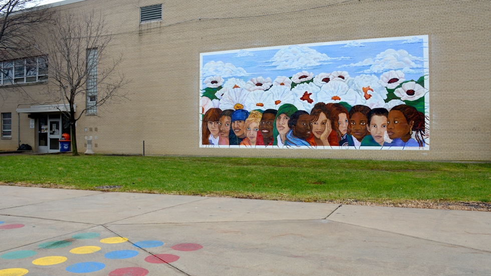 A mural on the wall of Cudell recreation center on Cleveland's west side.