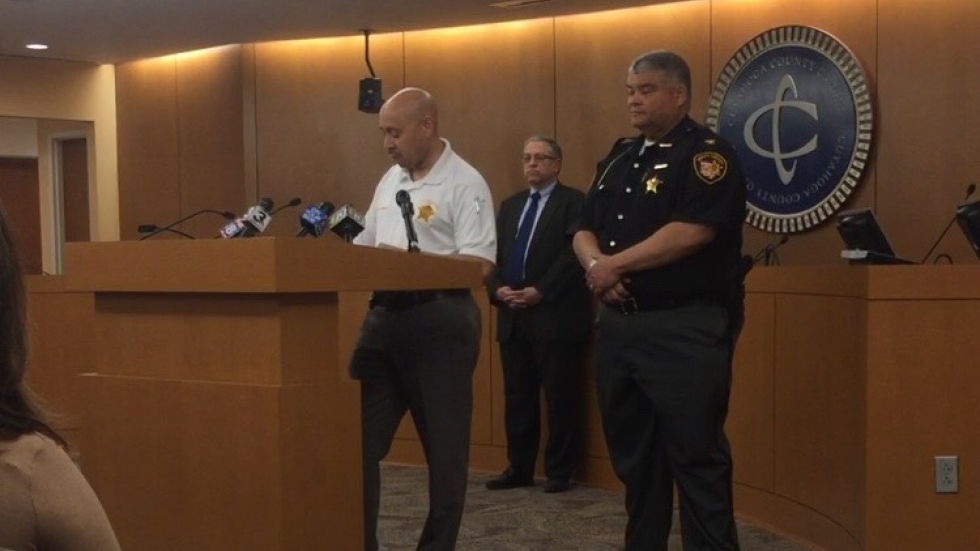 Sheriff Clifford Pinkney delivers a statement regarding the deputy-involved shooting. (Photo: ideastream)