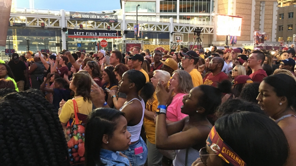 Cleveland  Cavaliers fans applaud as the team takes to the court at Game 4 of the NBA championships