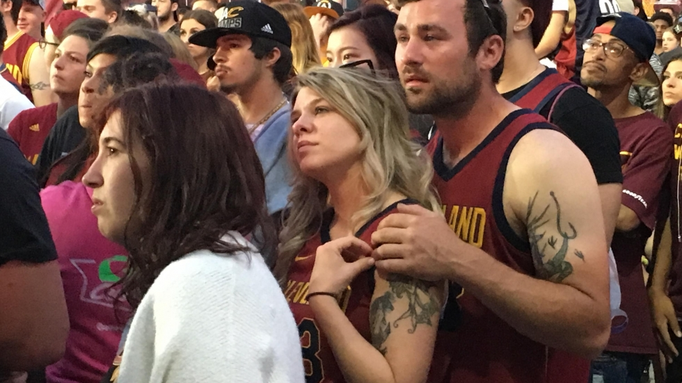Cleveland Cavaliers fans watch intently during Game 4 of the NBA Championships