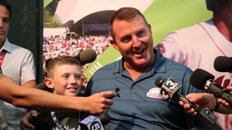 Cleveland Indians Slugger Jim Thome speaks to reporters after his induction to the Baseball Hall of Fame in 2018  [Tim Dubravetz/ideastream]
