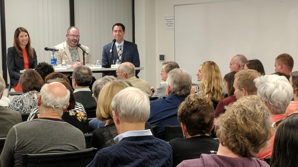 Rep. Kathleen Clyde, Prof. Dave Cohen and Sen. Frank LaRose discuss issues in the Ohio secretary of state race in Beachwood.