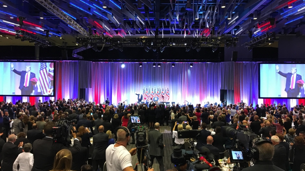 President Trump leaves the stage after his remarks at the 2018 Ohio Republican Party state dinner in Columbus, Ohio on Friday, Aug. 24.