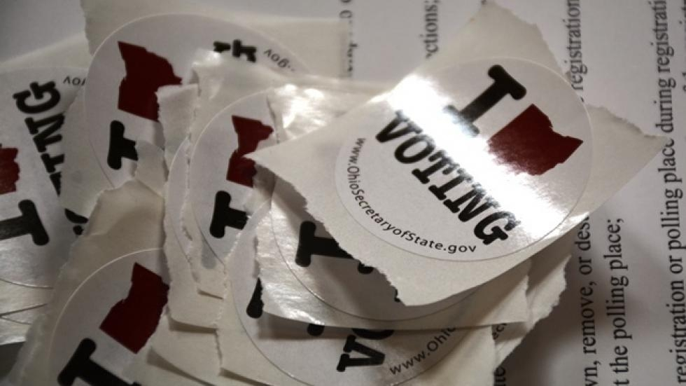 Voting stickers on a table at a polling place