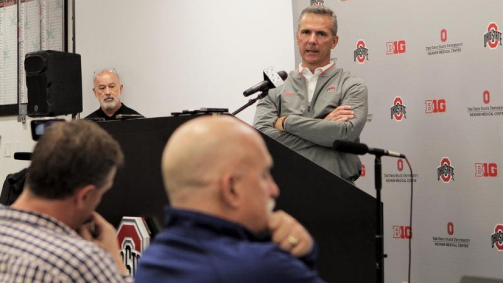Urban Meyer addresses reporters at his first press conference following the end of his suspension on Monday, Sept. 17.