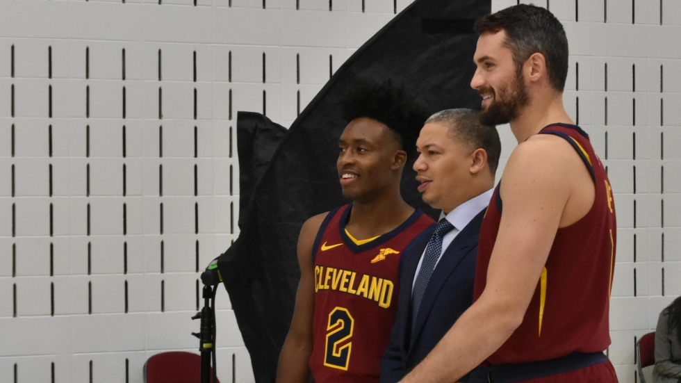 Rookie Collin Sexton, Coach Ty Lue, veteran Kevin Love pose for photos at Cavs Media Day