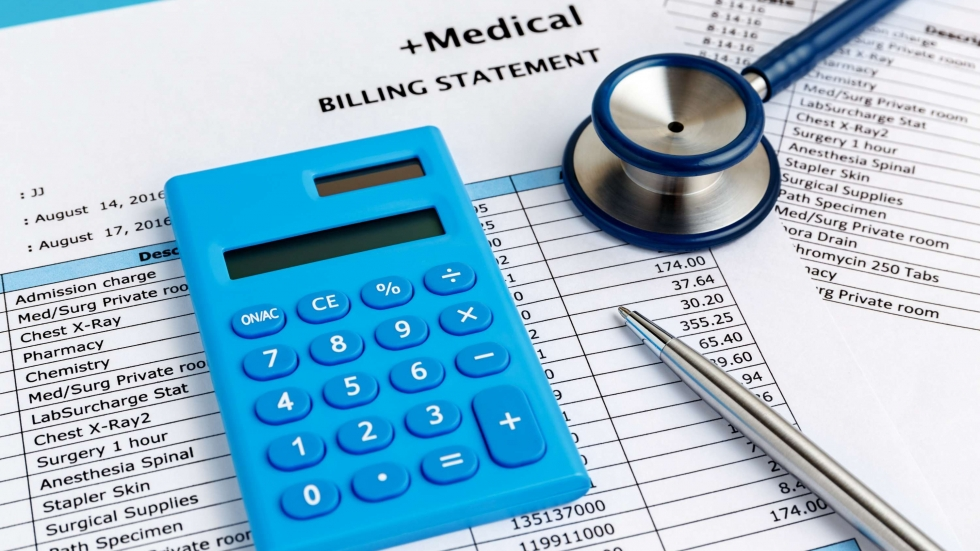 Stock photo of a calculator, a stethoscope and pen on a medical billing statement. [everydayplus / Shutterstock]