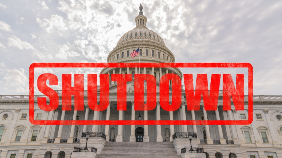 "Graphic of the Capitol building with the word ""Shutdown"" stamped over the photo."