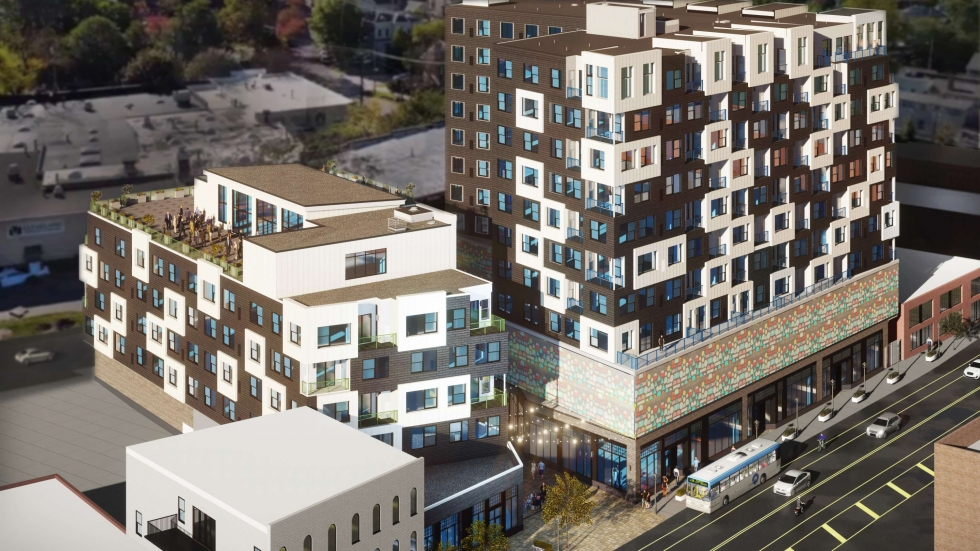 Architecural rendering of the LEED certified Church & State buildings on Detroit Ave at West 29th. [LDA Architects]