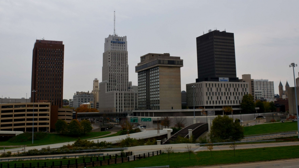 The city of Akron's skyline in 2015.