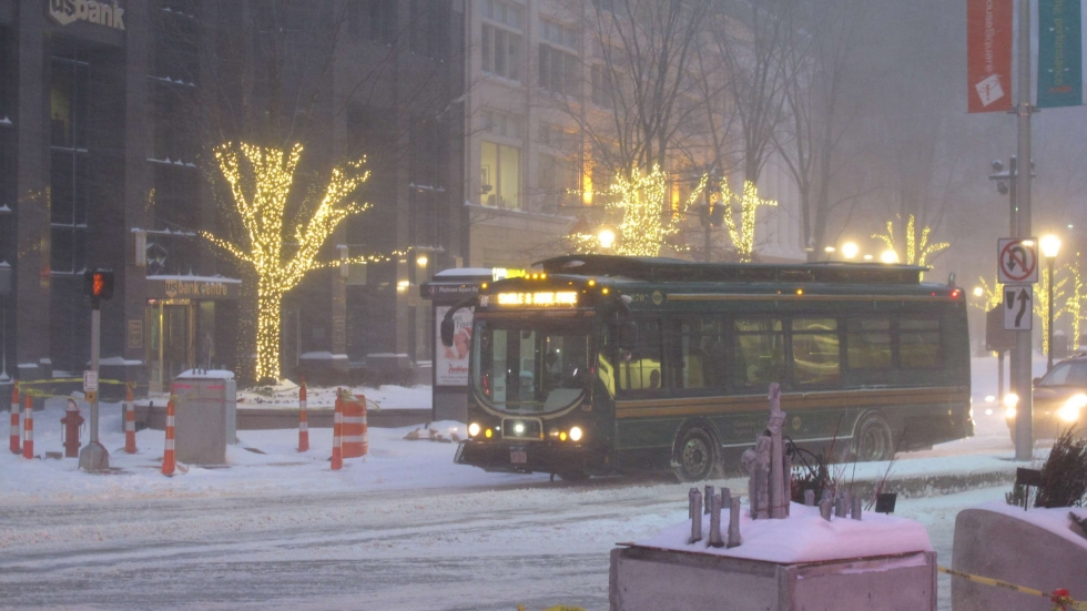 snowy streets at Playhouse Square in Cleveland