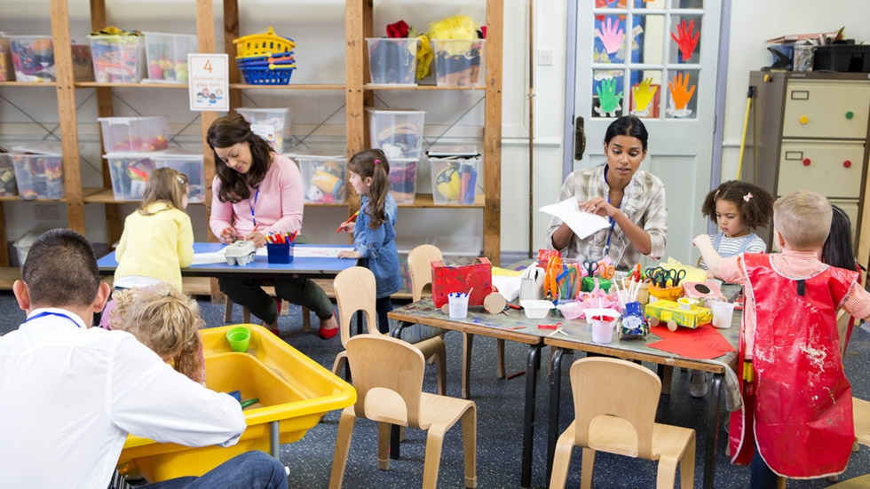 Teachers and children in daycare
