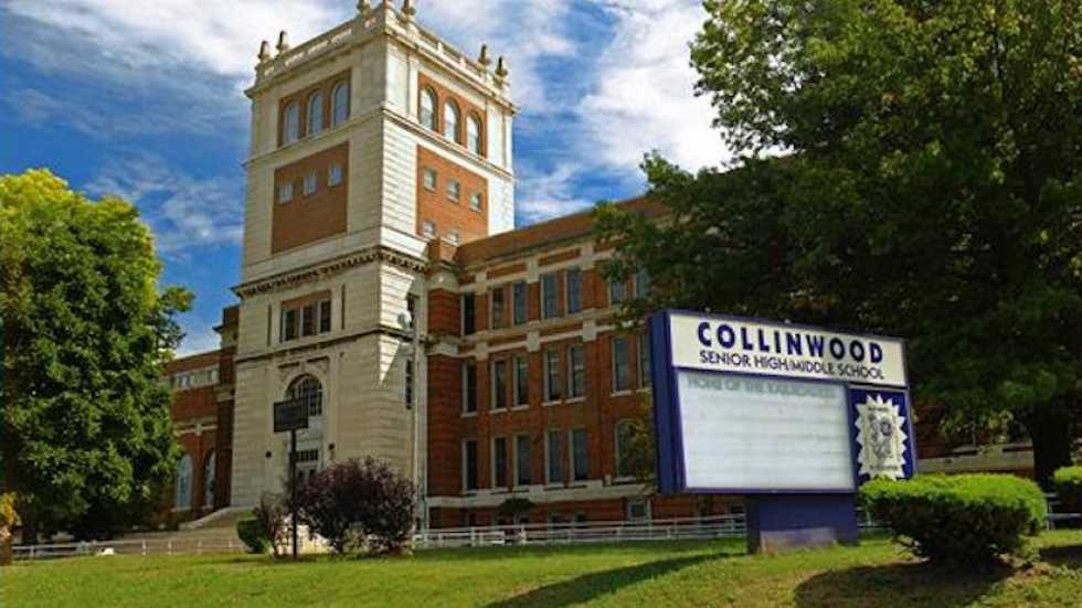 Built in 1924 to house 3,000 students, Collinwood High School on Cleveland's East Side now has about 300 students enrolled. [Cleveland Metropolitan School District]
