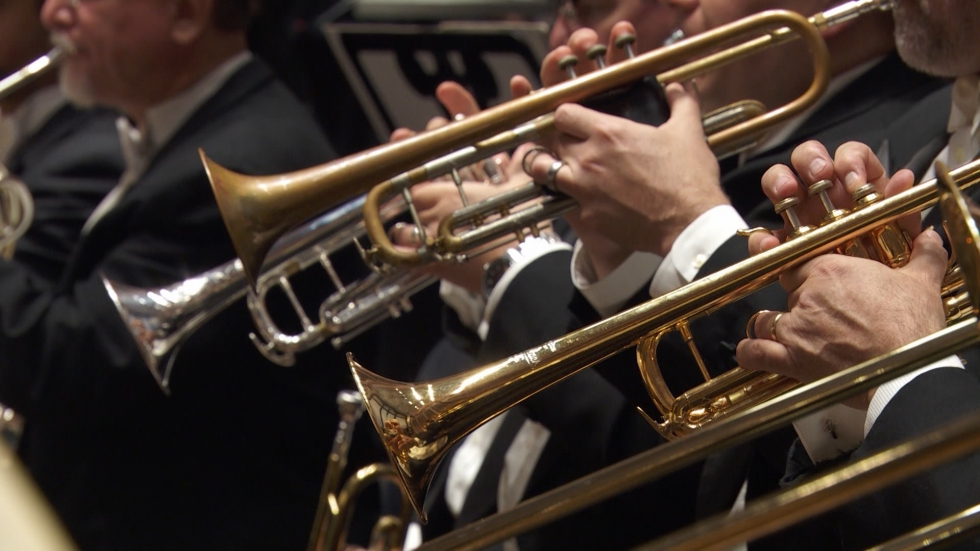 A close up of trumpets with the Cleveland Orchestra.