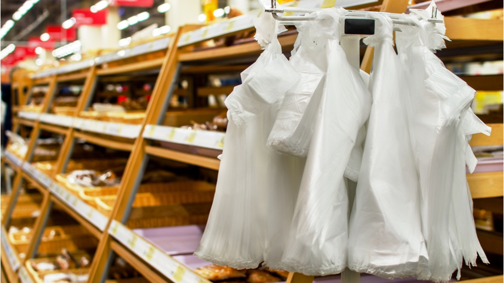 Plastic bags at a supermarket bakery