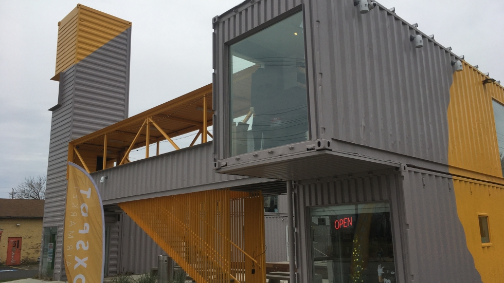 Cleveland's BoxSpot retail center is built from 10 former shipping containers.