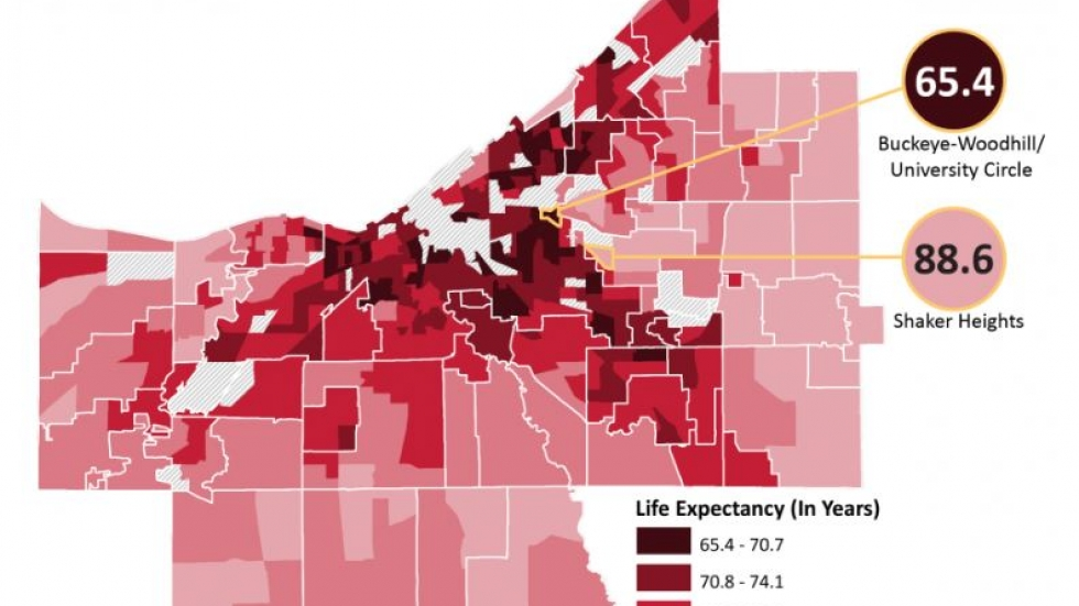 Map of life expectancy in Cuyahoga County from the Center for Community Solutions