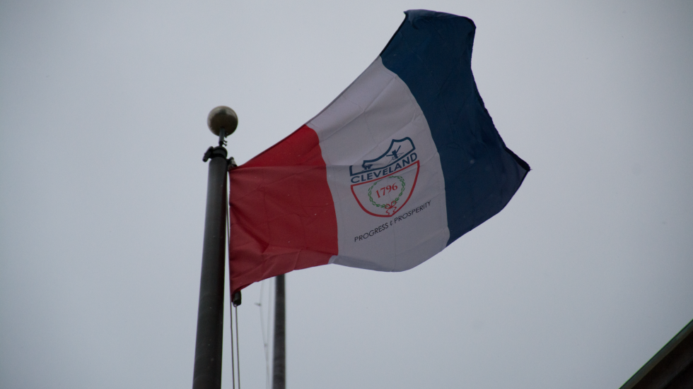the flag of the City of Cleveland at City Hall