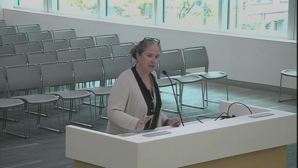 Cuyahoga County Budget Director Maggie Keenan addresses county council in November this year.