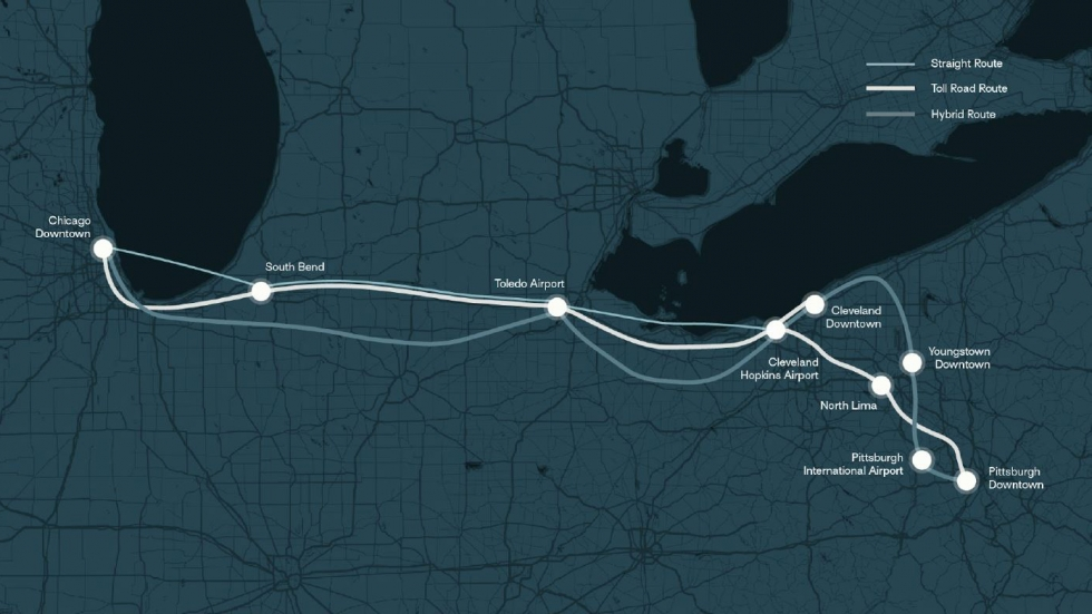 A map of proposed options for a Hyperloop route between Pittsburgh, Cleveland and Chicago.