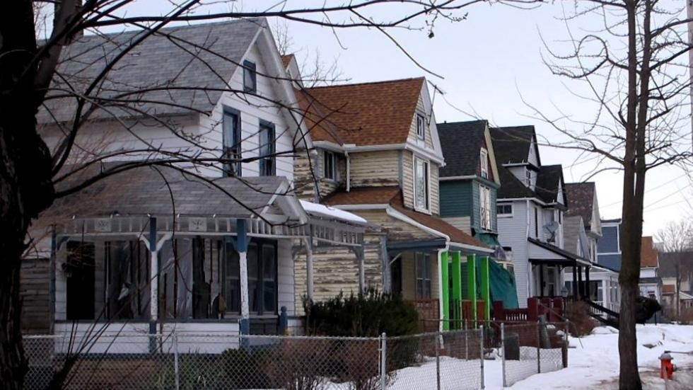 A row of Cleveland-area homes in winter