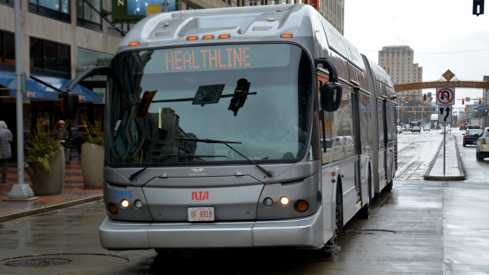 An RTA Healthline bus drives through Playhouse Square on Tuesday.