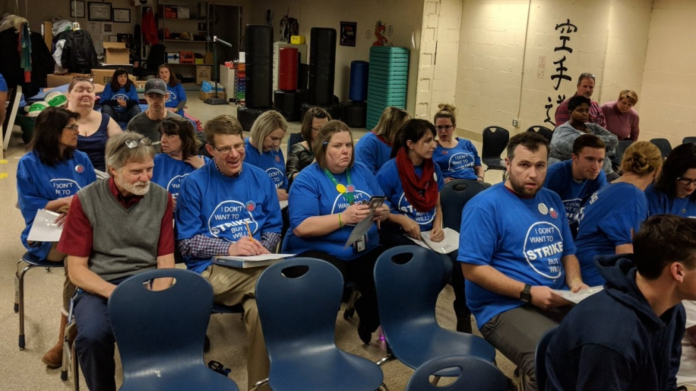 Summit Academy Parma teachers at the Board of Directors meeting. [Ohio Federation of Teachers]
