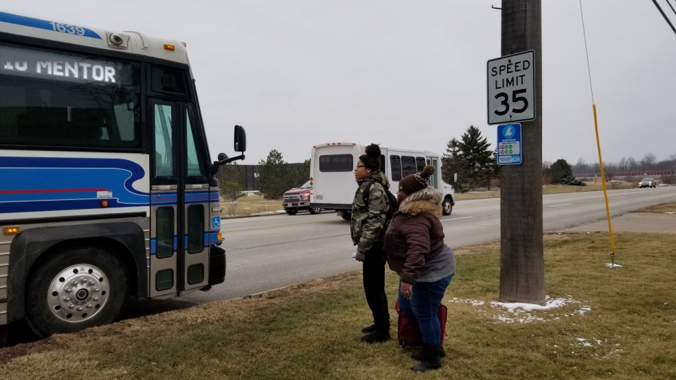 Riders boarding a Laketran bus in Mentor. [Laketran]