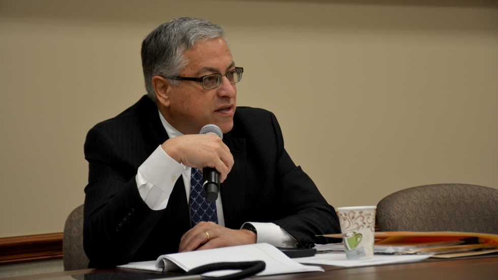 Cuyahoga County Executive Armond Budish speaks at a meeting in January about bail reform.