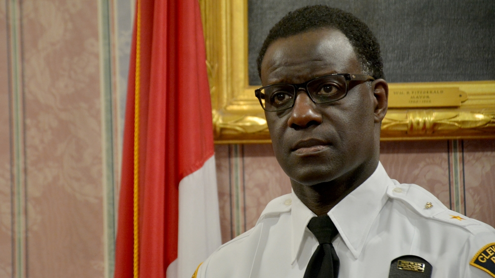Cleveland Police Chief Calvin Williams addresses media in 2018.