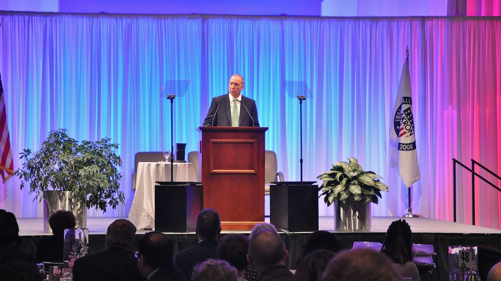 Akron Mayor Daniel Horrigan delivers State of the City address at the John S. Knight Center.