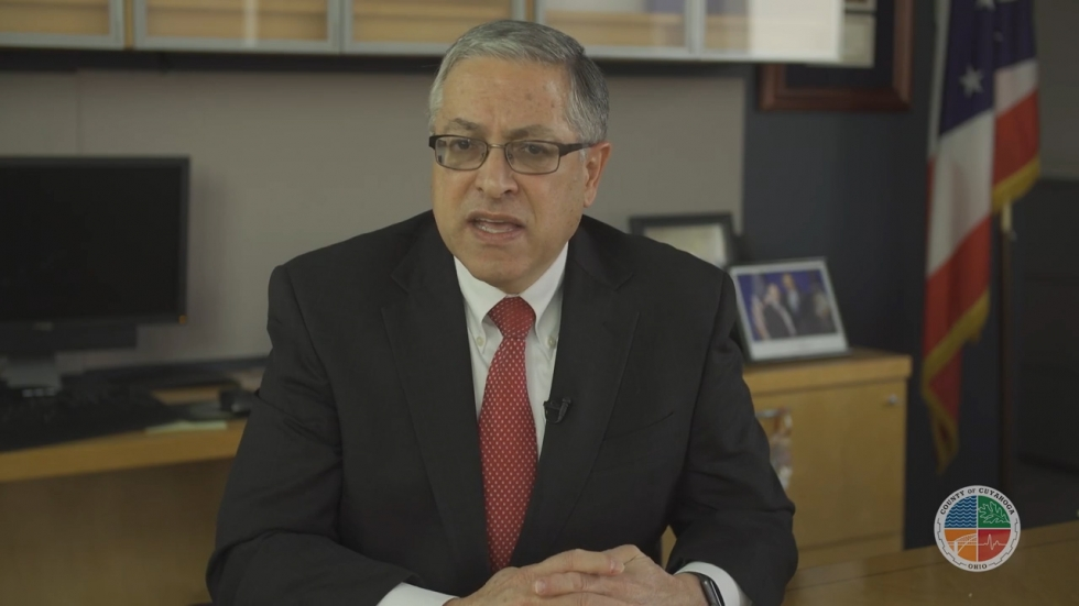 Cuyahoga County Executive Armond Budish addresses county residents in a video produced after the raid on his office.